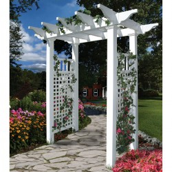 59''W x 33''D x 86''H Fairfield II Arbor, White