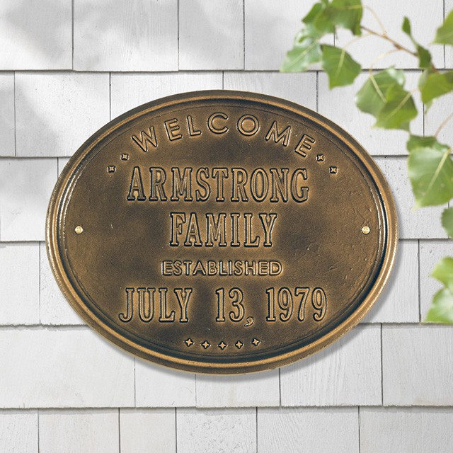 whitehall oval welcome family established personalized plaque