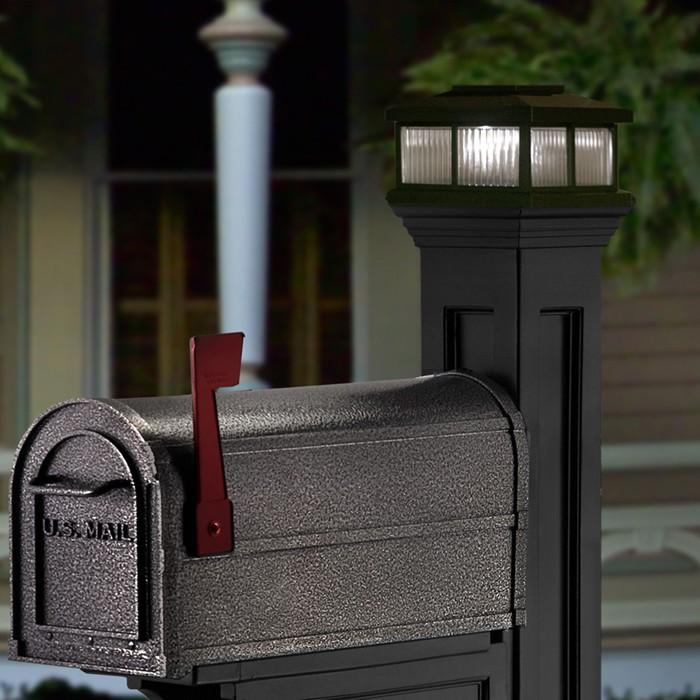 Solar light for mailbox posts aspenberry mayne solar light shown in black aloadofball Gallery