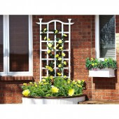 "30""W x 1 1/2""D x 78""H London Trellis, White Vinyl"